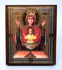 Icon Mother of God Inexhaustible Cup wood икона Неупиваемая чаша 10x12x1,8 cm