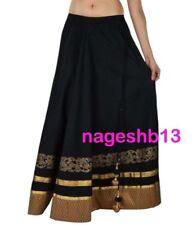 Indian Long Skirt, Bollywood Skirt, Black Cotton Skirt with Border, Dance Skirts