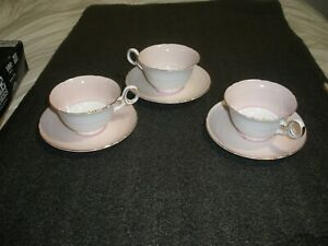 3 Shelley Hulmes Pink Rose 13257 Cup Saucer Fine Bone China England