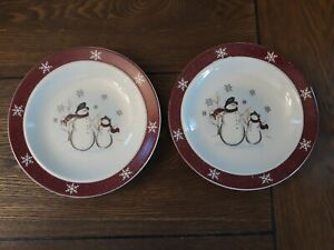 2 Royal Seasons Christmas Snowman Bread Butter Plates Stoneware Red snowflakes