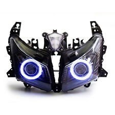 KT LED Angel Eyes HID Headlight Assembly for Yamaha Tmax530 2012 2013 2014 White