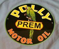 """VINTAGE POLLY ETHYL GASOLINE + PARROT 11 3/4"""" PORCELAIN METAL WILTSHIRE OIL SIGN"""
