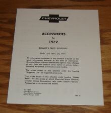 1972 Chevrolet Custom Features Accessories Price List Sales Brochure 72 Chevy