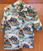 Men's Aloha Shirt Box Office Island South Pacific Sailboat Lighthouse Palms Sz M