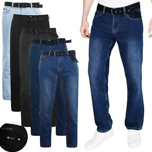 Mens Pierre Cardin Denim Jeans Straight Fit Belted Trousers Long Regular Pants