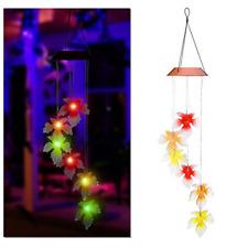 Ledmomo Solar Wind Chimes, Color-Changing Maple Leaf Solar Wind Chimes Light,