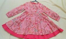 designer cakewalk girls pink romany fit and flared winter dress 110 4y 4-5y euc