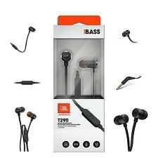 JBL T290 Aluminum In Ear Headphone Earbuds Tangle Free Cord Microphone Black-NEW