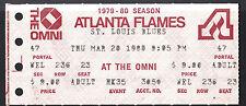 Atlanta Flames vs St Louis Blues March 20 1980 Vintage Ticket Stub