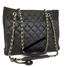 CHANEL Quilted Matelasse Lambskin CC Logo Chain Shoulder Tote Bag Black Good