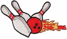 """Bowling Pins & Ball Strike FLAMES Embroidered Iron or sew on Patch Applique 4"""""""