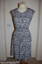 Womens Knit Dress BLACK WHITE ABSTRACT TRIBAL PRINT Belted Elast Waist L 12-14