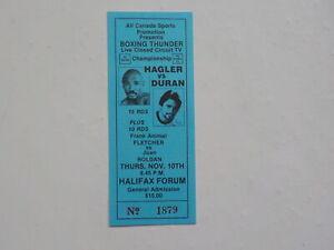 ROBERTO DURAN vs MARVIN HAGLER Boxing Ticket Juan Roldan Frank Fletcher VTG NR