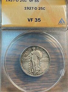 1927-D Standing Liberty Quarter ANACS VF35 Nice Original Best Price on Ebay CHN