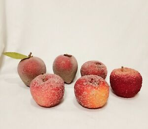 """Lot 6 Apples Beaded Sugared Table Artificial Faux Fruit 3"""" Red Vintage"""