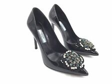 $2650 PRADA WOMEN BLACK CRYSTAL LEATHER ITALY SHOES HIGH HEELS PUMPS 35.5 5.5 US