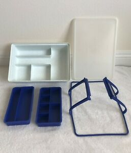 Vintage 5 Piece Tupperware Stow-N-Go Storage Craft Box Organizer Container