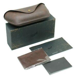 NEW PERSOL EYEGLASSES SUNGLASSES LEATHER BROWN HARD CASE CLOTH SPLATTERED BOX