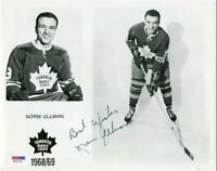 NORM ULLMAN - NHL - TORONTO MAPLE LEAFS - PSA DNA COA - SIGNED AUTOGRAPHED A451