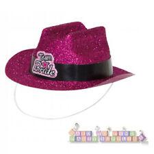 BACHELORETTE Team Bride MINI PINK GLITTER COWBOY HATS (4)~Wedding Party Supplies