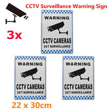 3Pc CCTV Warning Security Video Surveillance Camera Safety Sign Reflactive Alloy