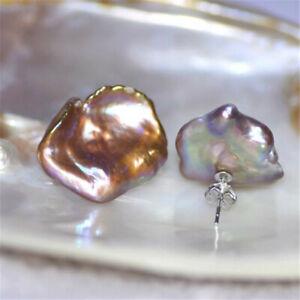 15-16mm Multi-color Baroque Petal Pearl Earrings flawless luxury light fashion