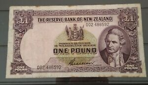 New Zealand 1955-56 £1 banknote Wilson signed 002 Suffix