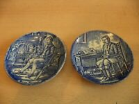 2 OLD VINTAGE ENOCH WEDGWOOD BLUE & WHITE CHINA MINI PLATES HUNTSMAN GAMEKEEPER