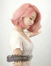 Korea Girl's BoBo air bangs Short Pink Daily fluffy Natural Wig Hair +wig cap