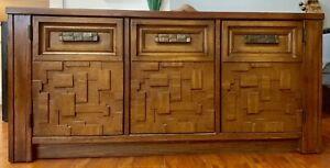 Mid Century Paul Evans Brutalist Record Cabinet Buffet Mosaic Wood Lane Center