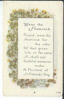 CA-019 Wear the Shamrock St Patricks Day Greetings Divided Back Postcard Vintage