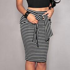Women Striped Skirt High Waist Slim Short Pencil Skirts Bow Tied Bodycon Skirt