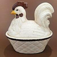 Vintage Terrine Covered Casserole Hen Nest Hand Painted Chicken Holland Mold