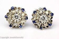 Diamond Sapphire Cluster 14K White Gold Stud Earrings Vintage