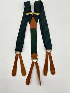 Vintage Polo Ralph Lauren Classic Suspenders GREEN/NAVY TARTAN PLAID Adult Belt