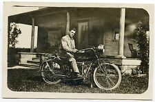 "RPPC Motorcycle ""Indian""  Man on His Bike"