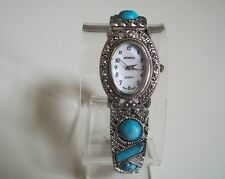 Vintage Look Bracelet Marcasite/Turquoise Special Occasion Fashion Women's Watch