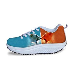 Animal Wedge Toning Women Walking Shoes Breath Gym High Platform Tennis Shoes