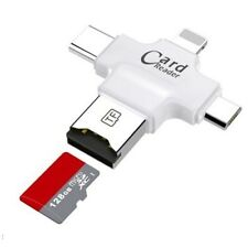 LETTORE SCHEDE 4 IN 1 MICROSD ANDROID IOS WINDOWS PC CARD READER FAT32 BIANCO