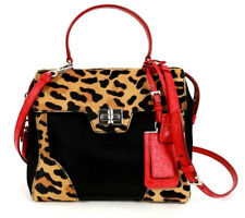 PRADA Leopard Pony Fur, Red Ostrich & Nylon Top Handle Satchel Bag