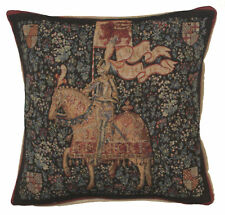 French Tapestry Decorative Throw Pillow Cushion Cover 19x19 The Knight