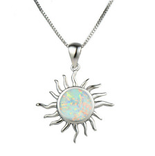 Fashion 925 Silver Jewelry Sun White Fire Opal Charm Pendant Necklace Chain ~~!