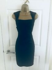 Lipsy Classic Black Bodycon Ruched Evening Party Mini Cocktail Dress £65 Sz 6