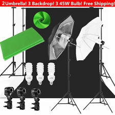 Photo Photography Umbrella Lighting Kit Studio Light Muslin Backdrop Stand US MY