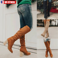 US Women Faux Suede High Block Heel Boots Knee High Booties Point Toe Shoes Size