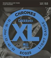 D'Addario ECG25 Chromes Flat Wound Light 12-52 Guitar Strings