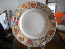 """Patchwork Dinner Plate (s) 11"""" Flag Apple Gibson Stoneware White Blue Green Red!"""
