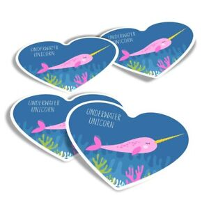 4x Heart Stickers - Pink Narwhal Unicorn Whale  #3504