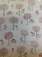Woodland Pvc Coated 100% Cotton Fabric In Cream By The Half Metre