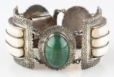 "Vtg Mexican Silver Green/White (Jade/Quartz) Gemstone Cuff Bracelet 7"" 112.6 g"